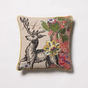 Anthropologie Wild & Wooly Deer Pillow